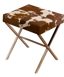 Patchwork Leather Stool 12A8070 Brown 1