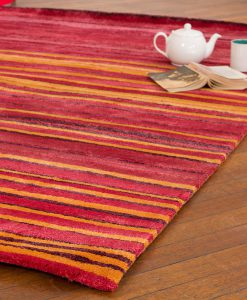 Stripe Rug Wool Jute Bamboo 130x190cm Hot Sun 2