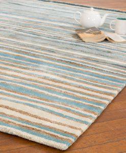 Stripe Rug Wool Jute Bamboo 130x190cm Nautical 2