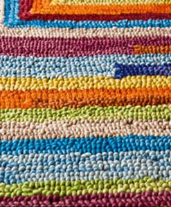 Square Spiral Loop Weave Rug Colourful 140×200 2
