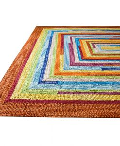 Square Spiral Loop Weave Rug Colourful 140×200 1