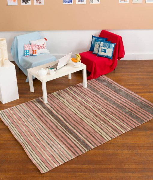 Stripe Rug Wool Jute Bamboo 160x230cm Strawberry Mouse 5