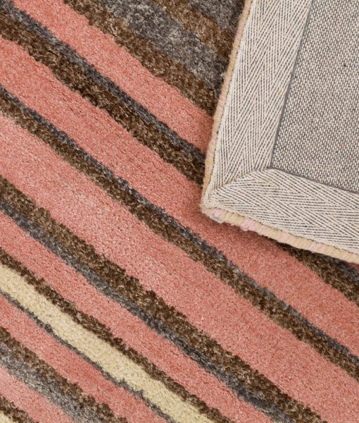 Stripe Rug Wool Jute Bamboo 160x230cm Strawberry Mouse 3