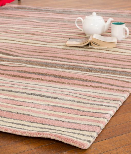 Stripe Rug Wool Jute Bamboo 160x230cm Strawberry Mouse 2