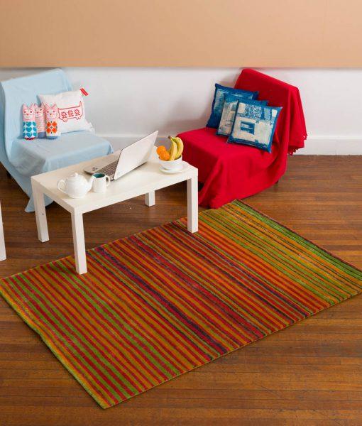 Stripe Rug Wool Jute Bamboo 160x230cm Sugar 5