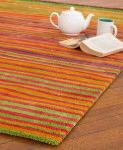 Stripe Rug Wool Jute Bamboo 130x190cm Sugar 2