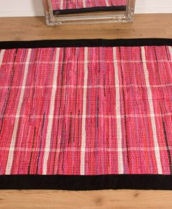 Trasmatta Hosiery Pink Black Suede Trim 110x70cm 2