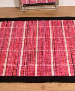 Trasmatta Hosiery Pink Black Suede Trim 200x140cm 2
