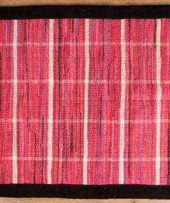 Trasmatta Hosiery Pink Black Suede Trim 110x70cm 1