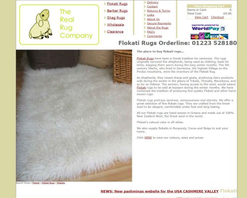 The old Real Rug Company website from 2005