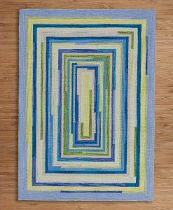 Square Spiral Loop Weave Rug OCEAN 140×200 2