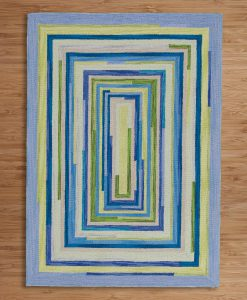 Square Spiral Loop Weave Rug OCEAN 110×170 2